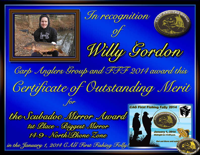 Willy Gordon - FFF 2014 Scubadoc Mirror Award - Big Mirror - North Zone - 1st
