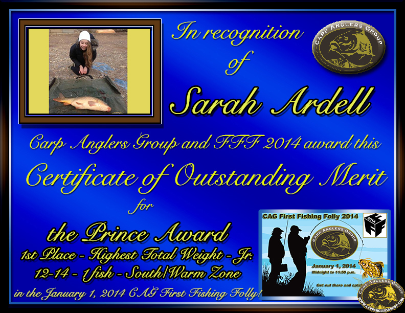Sarah Ardell - FFF 2014 Prince Award - High Total Weight (Jr. Angler) - South Zone - 1st