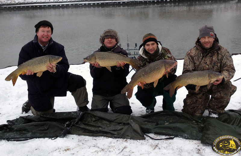 Quadruple catch - 2012 Winter League - (l to r) Frank, Mirek, Marcin, Ernest - Menomenee River - Milwaukee, WI - Dr. Frank Rink
