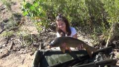 Olivia's new PB common carp, 16 lb's 2 oz !
