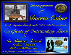 Darren Calver - FFF 2014 Monster Award - Big Fish - North Zone - 1st