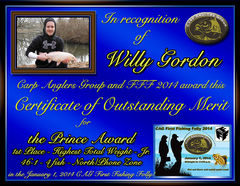 Willy Gordon - FFF 2014 Prince Award - High Total Weight (Jr. Angler) - North Zone - 1st